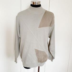 Umberto Ginocchietti Light Green Suede Patch Sweater Sz 50