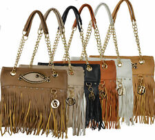 Damen Tasche  Abendtasche Leder Optik Bag Damentasche Gold Handtasche Fransen M8
