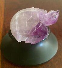 Vintage Carved Purple fluorite figurine ~Turtle in Egg ~ Carved Base ~ Feng Shui