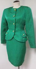 Pierre Balmain Vntg 1980'S Green Silk Skirt Suit Gold Tone Buttons Fit & Flair 8