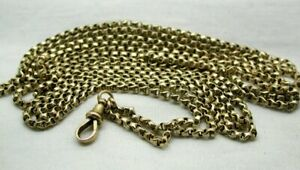 Antique Lovely Quality 9 Carat Gold Full Length Watch Guard Chain 67 Inches