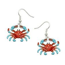 Crab Fashionable Earrings - Enamel - Fish Hook - Sparkling Crystal