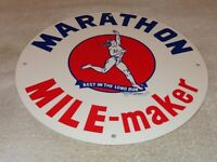 "VINTAGE ""MARATHON MILE MAKER RUNNER"" 11 3/4"" PORCELAIN METAL GASOLINE & OIL SIGN"