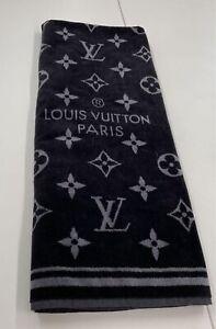 Louis Vuitton Beach Bath Towel Blanket Monogram Black Color 100% Cotton from JPN
