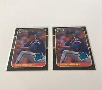 (2) Rare Greg Maddux Rookie RC 1987 Donruss Baseball #36 HOF Chicago Cubs LOT
