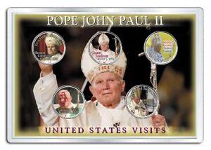 POPE JOHN PAUL II * Visits to USA * Colorized U.S. Statehood Quarters 5-Coin Set