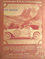 PUBLICITE ZENITH CARBURATEUR MISS PEARL WHITE ETOILE DU CINEMA DE 1924 FRENCH AD