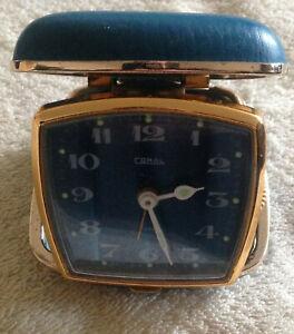 Vintage Travelling Alarm Clock Analogue, Coral, Blue