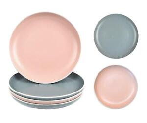 Set of 4 Dinner Plates Tableware Round Dishes Grey Pink White Rim Stoneware