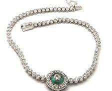 Sterling Silver CZ Pave Green Tourmaline Halo Evil Eye Elegant Tennis Bracelet