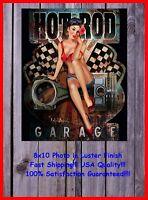 Hot Rod Garage Vintage Look Pinup Girl Man Cave DECOR SIGN 8X10 Photo BAR Shop