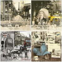 4x Paper Napkins -Vintage Cities Mix- for Party, Decoupage Decopatch Craft