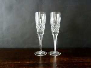 2x Stuart Crystal Shaftesbury Cut Champagne Glasses Flutes , Signed
