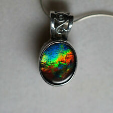 Ammolite w/ 925 Sterling Silver pendant 11x9mm by Mont Blue