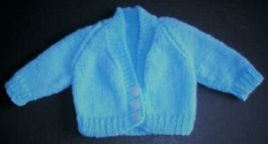 "NEW HAND KNITTED NEW BORN BABY CARDIGAN 14"" BOY BLUE C/204/B"