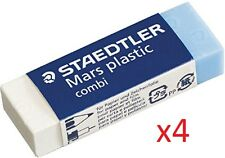 STAEDTLER ® MARS PLASTIC Combi Eraser Rubber - SET OF 4 - Pencil + Ink Erasers