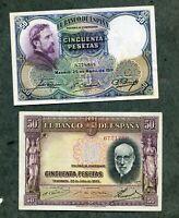 LOTE 2 BILLETES PESETAS 50 DE 1931 Y 50   DE 1935 LOS DOS EBC
