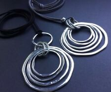 Long Black Grey suede necklace with large statement Circles pendant boho bijoux