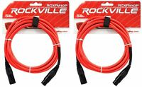 2 Rockville RCXFM10P-R Red 10' Female to Male REAN XLR Mic Cable 100% Copper