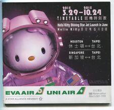 EVA AIR UNI WINTER 2014/15 TIMETABLE HELLO KITTY SEAT MAPS