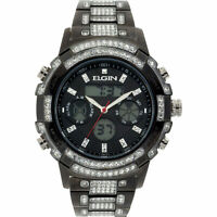 ELGIN Gunmetal Men's Round Anadigi Dual time Watch with Crystals FG1610012GN