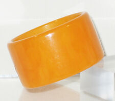 Vintage Bakelite Bracelet Bangle rare tangerine orange marble extra wide shape