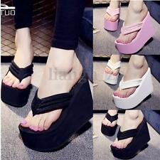 Womens Summer Sandals High Heels Flip Flops Slippers Wedge Platform Beach Shoes