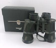 New listing Vtg Tasco 223CRZ 10x50 Camouflage Green Binoculars Case 367ft at 1000yds