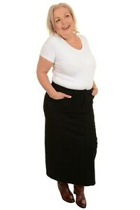 Ladies Women's Black Stretch Denim Maxi Skirt Sizes 14 To 32