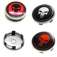 "4x60mm 2.36"" The Punisher Skull Car Wheel Center Hub Caps Rim Cover Badge Decals"