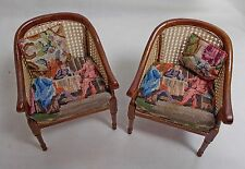 Dollhouse Miniature Antique Petit Point pair Gents Study Chairs  (A)