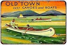 1937 Old Town Canoes Boats Rustic Vintage Aluminum Tin Metal Sign 8x12 Inches