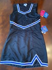 cheerleading uniform adult xl black With white and royal blue braiding