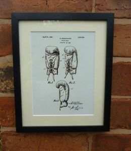 """USA Patent drawing Vintage BOXING GLOVES sport Mounted PRINT 10"""" x 8"""" 1923 Gift"""