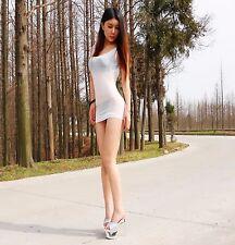 Women Lady Transparent Dress Sexy Tight Halter Mini Short Stretchy Nightclub