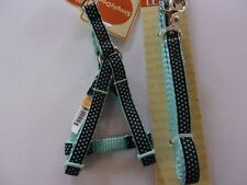 Blue polka-Dot HARNESS LEASH set Simply Dog TOY size Step-In Pet new xxs