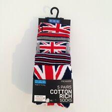 Union Jack men's socks 5 x pairs Size 9-12 navy and grey Primark