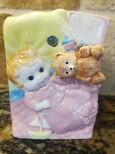 Vintage Baby GIRL Planter w/Musical Rotating Teddy Bear LUV Imports