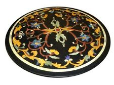 Black Marble Inlay Handmade Table Top Semi Precious Stones marquetry Work