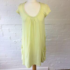 White Stuff Women's Light Yellow Dress Size 12 Mini Short Sleeve With Pockets