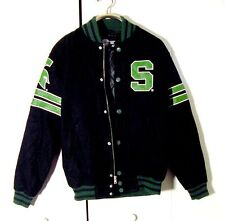 Collegiate Licensed Product Wool Blend /Leather Spartans Jacket Sz L