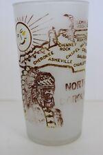 Vintage Hazel Atlas Frosted Souvenir Glass North Carolina Brown Graphics