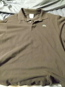 Lacoste Mens BrownCotton Collared Short Sleeve Golf Polo Shirt Size 7 XXL