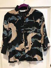 Vtg Avanti Silk Hawaiian Blouse Women's Small Cranes Mandarin Collar Buttons