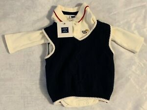 NWT New Janie and Jack 0-3 Months White Long Sleeve Polo with Vest FREE SHIPPING