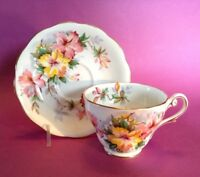 Royal Standard Azalea Pattern - Teacup And Saucer - Yellow And Pink - England
