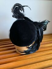 Vintage 1940s Black Velvet Feather Asymmetrical Womens Hat