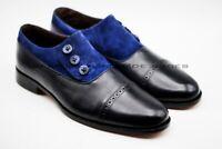 Hommes Fait main Cuir noir véritable Et daim bleu Oxford Chaussure
