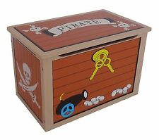Kiddi Style Children's Pirate Wooden Treasure Chest Toy Box Storage Unit Kids