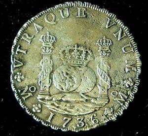RARE LARGE FLAN 1736  8 REALE 'Pillar' Dollar   - ROOSWIJK shipwreck 1739